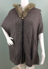 NWT Womens Anne Klein Hooded Zip Up Faux Leather Trim Poncho Sweater Sz L Large