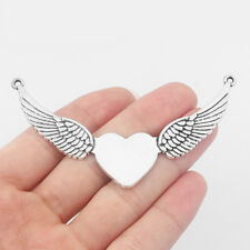 5Pcs Large Antique Silver Heart Angel Wings Connectors Pendants Jewelry Findings