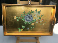 Gold & black colours wooden tray decorated with painted flowers & bird lot BRE07