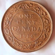 1914 CANADA CENT - KEY DATE - AU Mostly Red- Great Coin- FREE SHIPPING - HV33