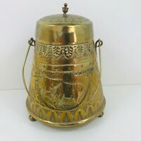 Vintage Brass Coloured Tin Canister Caddy Bell Shaped G&S  H With Carry Handle