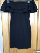 New!! Black Sexy Off Shoulder Ruffled Dress Size 10-12. Bodycon Dress