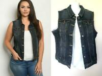 DARK DENIM VEST PLUS 2X XXL 2XL PINUP PUNK JACKET BUTTON UP