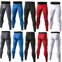 Mens Running Basketball Tights Workout Skin Compression Long Pants Elastic Waist