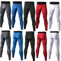 Mens Running Basketball Tights Workout Skin Compression Long Pants Elastic Waist