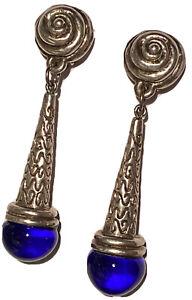 HUGE SILVER COBALT BLUE GLASS MODERNIST ARTISAN DANGLE CLIP STATEMENT EARRINGS