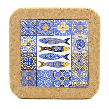 Traditional Portuguese Sardines Ceramic Tile Trivet With Cork #0252