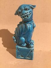Blue Pottery China Foo Dog Dragon Oriental - Maker's Mark on Base