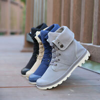 Men's Lace Up Canvas Ankle Boots Fashion Sport Casual High Top Round Toe Shoes
