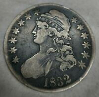 1832 Capped Bust Silver Half Dollar 50C VERY FINE VF Lettered Edge Original