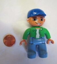 "LEGO DUPLO FATHER MAN DAD WORKER in GREEN SHIRT & BLUE CAP 2.5"" FIGURE Rare! #2"