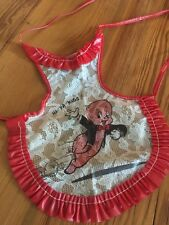 Vintage 50s Doll Apron Plastic Lace Disney PORKY PIG Ruffled Red