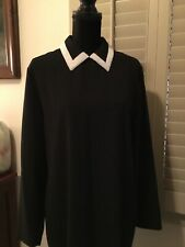 Vintage 80s Black Evan Picone Pearl Collar Fitted Dress 14 New No Tags