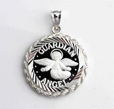 .999 PURE SILVER  Guardian Angel Coin (22mm) in S/S Diamond-Cut Rope Pendant