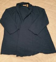 EASYWEAR BY CHICO'S 0 Small Blue Open Front Stretch Knit Cardigan Jacket