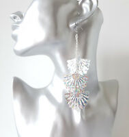 Gorgeous 12.5cm long silver tone layered chain hologram fan sequin drop earrings