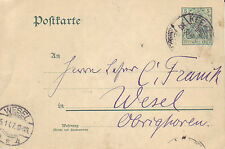 Reich Brief ( Germania Ganzsache ) Keeken > Wesel vom  25.01.1907