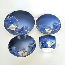 Christmas Dinnerware 4pc Set New Chinaware China Blue White Poinsettia Flower