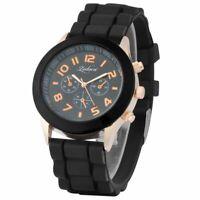 Black Unisex Men Women Silicone Jelly Quartz Analog Sports Wrist Watch New