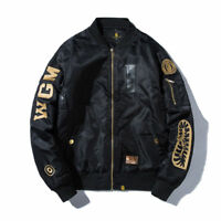 Hot Bathing Ape Embroidery Shark Head Men's Warm/thin Flight Bomber Jacket Coat