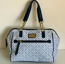 NEW! TOMMY HILFIGER IVORY BLUE BOWLER GOLD CHAIN SATCHEL TOTE PURSE $89 SALE