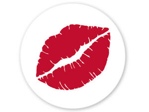 """RED LIPS Print CLEAR Back Round Gift label Sticker 2"""" CHOOSE Package Amount"""