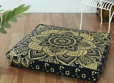 "Mandala Ottoman Case Cushion Floor Pillow 35"" Indian Square Seating Cover Pouf"
