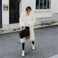 Ladies Women Long Hairy Faux Fur Coat Winter Warm Jackets Shaggy Outerdress New