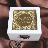 Personalised Wedding Ring Box Custom Wedding Ring Holder Wooden Ring Bearer Box