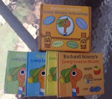 VINTAGE 80s Scarce Richard Scarry Lowly Worms Schoolbag 4 mini-book set w case