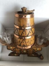 Wooden Whiskey Barrel With 6 Glasses