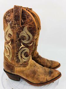 Justin Bent Rail 7.5 B Puma Tan Leather Distressed Western Cowboy Boots BRL103