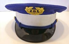 Vtg Lowe & Campbell Marching Band Hat Blue with White Band Gold Trim Lyre Sz 7