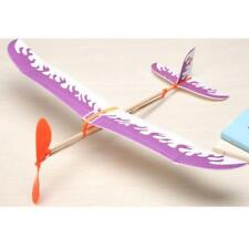 Kids Education Toy Rubber Band Powered Glider Plane Assemble Aircraft Purple