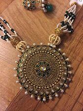 Indian Pakistani Multi Strand White Pearl Moti Green Necklace Pendant Earring