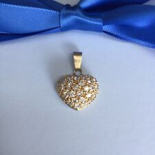 Genuine Solid 18k Yellow Gold Heart Pendant With CZ Stones 4.04 grams