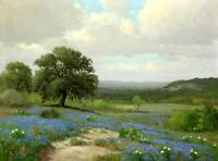 Landscape with Texas Bluebonnets Oil Painting Giclee Art Printed on canvas L2069