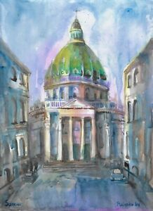 original painting 30 x 41 cm 48PsI art watercolor modern cityscape Architecture