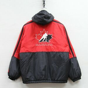 Vintage Team Canada Hockey Starter Puffer Jacket Youth Large Full Zip Insulated