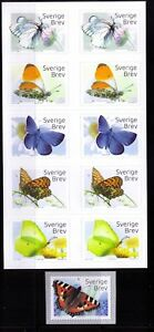 2017 Sweden Butterfiles booklet + coil MNH