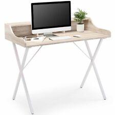 VonHaus Study Desk White Modern Style Workstation Home Office Stationery Storage