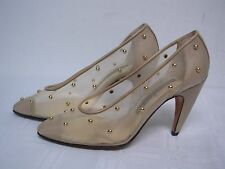 WALTER STEIGER BEIGE LEATHER 7 MESH WOMENS PUMPS SHOES w GOLD BALL STUDS 6 1/2 B