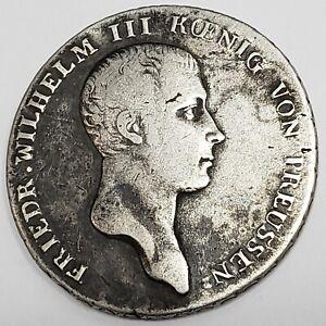 1814 Kingdom of Prussia 1 Reichsthaler Silver German States Wilhelm 3 Coin @KP60