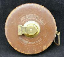 Vintage 50 Ft Lufkin Linen Corded Tape Measure Brass Leather Case, Saginaw USA