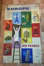 Vintage Poster Art Air France Europe Jean Carlu original 24.5 x 39""