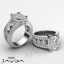 Radiant Cushion Diamond Bezel Engagement Ring GIA G VS2 14k White Gold 2.25 ct