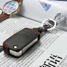 3 Button PU Leather Remote Key Case Cover Keychain For VW Golf Jetta Passat Polo