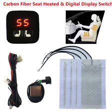 2 Seats Heated 12V Carbon Fiber Seat Heater Kit 5-Level Digital Display Switch
