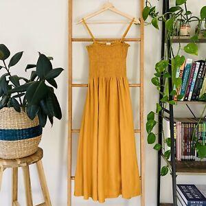 H&M Womens Yellow Mustard Spaghetti Strap Stretchy Style Maxi Dress Size UK S