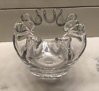"Clear Glass Rose Bowl Vase Crimped Rim Weighs Over 3 1/2lb.5 1/2""High Width 6"""